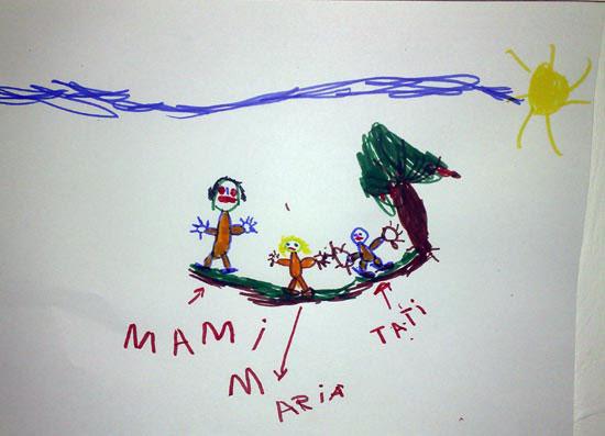 Maria, familia mea, desen in carioca