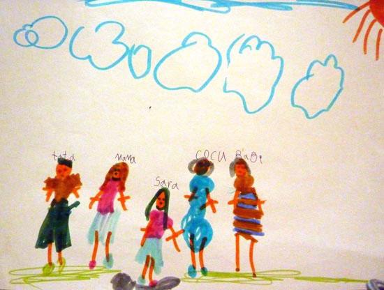Sara, Familia mea, desen in carioca