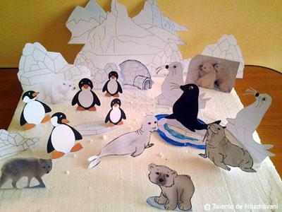 Decupaj. Peisaj polar cu pinguini si foci