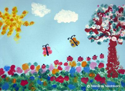 Flori de primavara. Dactilopictura. Flowers. Fingerpainting