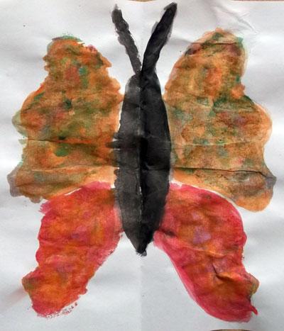 Fluturi. Pictura in oglinda. Butterfly. Mirror painting