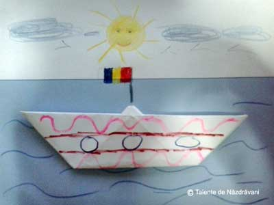 Tablou origami cu barcuta
