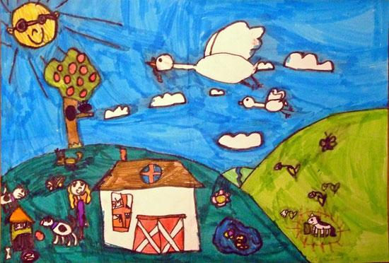 Peisaj de primavara. Desen in carioca