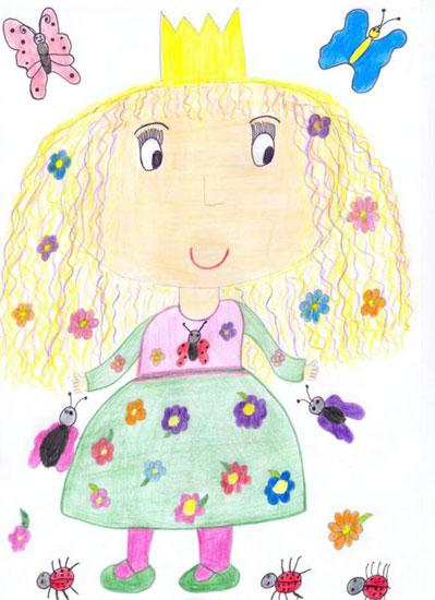Primavara. Desen cu creioanele colorate